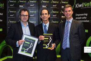 Chief Marketing Officer, James Kyd (Tait) with Fred Samandari (University of Canterbury) and Ben Fahey (BNZ - Award Sponsor)