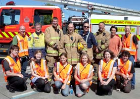 Tait R&D Lead Engineer Dr Alan Murray (top left) with students from the NZILBB and members of the New Zealand Fire Service.