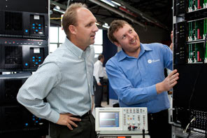 Grant County MACC Radio Communications Manager Dean Hane (left) with Tait Customer Support Engineer Richard Daly.